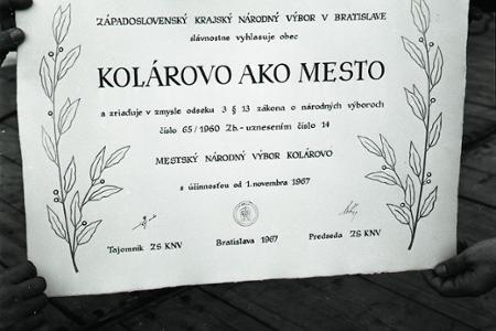 Rok 1967: Kolárovo sa stáva mestom